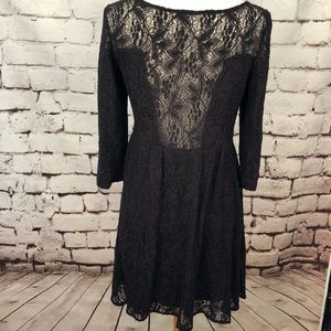 Free People Dresses - Free People Black Lace Crochet 3/4 Sleeve Dress